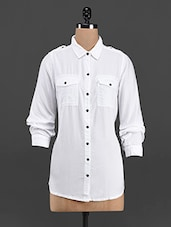 White Solid Full Sleeve Shirt - LastInch