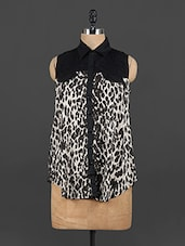 Animal Printed Shirt Collar Monochrome Top - EWA Women