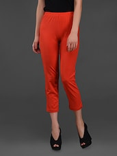 Red 3/4 Tights With Back Pocket - By