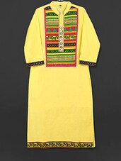 Lemon Yellow Cotton Kurti With Printed Panel - AYAN