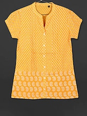 Yellow Printed Cotton Short Kurti - AYAN