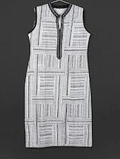 Monochrome Printed Sleeveless Cotton Kurti - AYAN