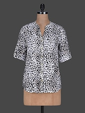 Animal Print Roll-up Sleeves Poly-crepe Top - Color Cocktail