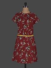 Brown Printed Poly-crepe Dress - Color Cocktail