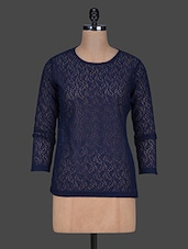 Navy-blue Long Sleeves Lace Top - Color Cocktail