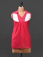 Pink Color Block Yoke Georgette Top - London Off