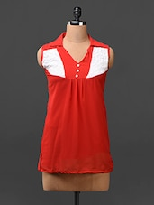Red  Color Block Yoke Georgette Top - London Off