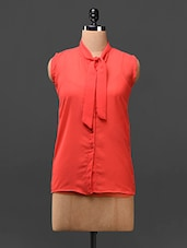 Orange Neck Tie-up Georgette Top - London Off