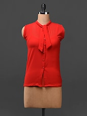 Red Neck Tie-up Georgette Top - London Off