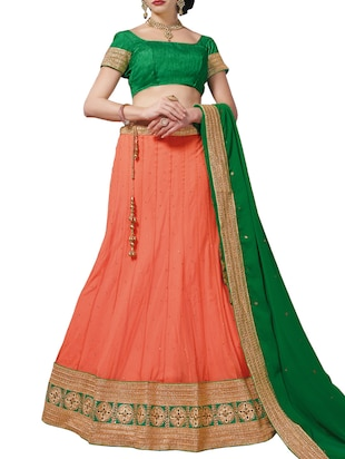 pitch orange net lehenga