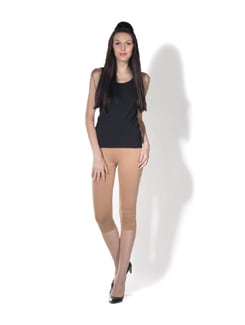Beige Gold Calf Length Tights - K for Women