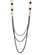 Black Metal Alloy  & Stone Necklace - Golden Peacock