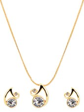 Gold Metal Alloy Pendant Set - Golden Peacock