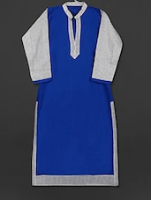 Royal Blue Cotton Kurti With Printed Sleeves - AYAN