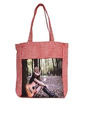 Girl Playing Guitar Printed Canvas Tote Bag - Lass Lee