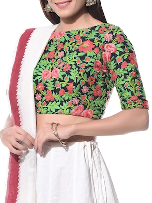 Multicoloured floral embroidered cotton blouse