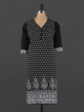 Monochrome Ethnic Printed Cotton Kurta - CRAZORA