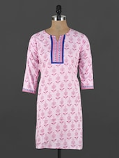 Pink Floral Printed Cotton Kurti - CRAZORA