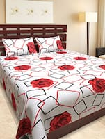 Floral Printed Cotton Double Bedsheet With 2 Pillow Covers -  online shopping for bed sheet sets