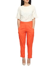 white, orange cotton jumpsuit -  online shopping for Jumpsuits