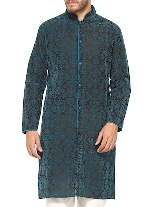 black , blue chanderi kurta