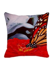 Leaf Designs Red & Grey Butterfly Cushion Cover - By