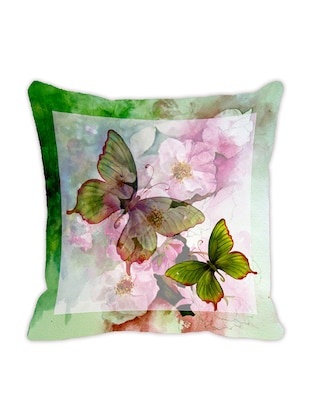 Leaf Designs Light Green Butterfly Cushion Cover -  online shopping for Cushion Covers