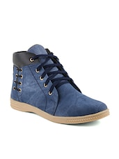 blue denim, leatherette sneakers - Online Shopping for Sneakers