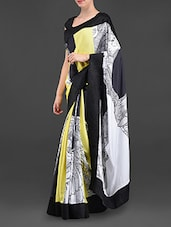 Artistic Doodle Print Poly Crepe Saree - I AM TROUBLE BY KC