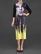 Digital Graphic Face Printed Shift Dress - I AM TROUBLE BY KC