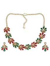 Red & Green Floral Necklace Set - Voylla