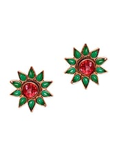 Red & Green Beads  Floral Shaped Earrings - Voylla