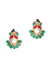 Red & Green Beads Stud Earrings - Voylla