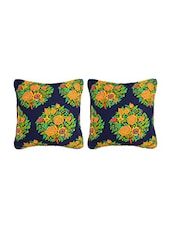 SATVAH Floral Embroidery Blue Cushion Cover CC-21D - By
