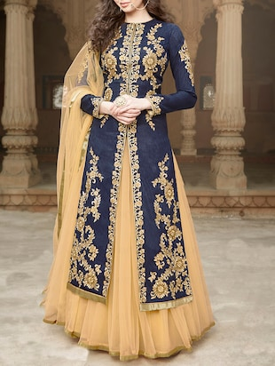 navyblue banglori silk unstitched suit