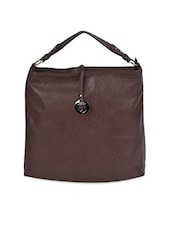 Dark Brown Faux Leather Tote Bag - Caprese