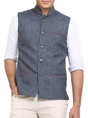 solid grey jute nehru jacket