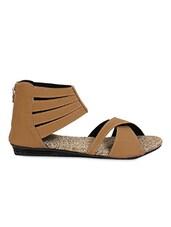 Brown Criss Cross Straps Flat Sandals - Lucky Feet