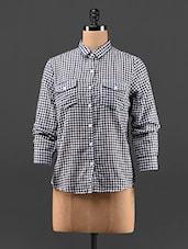 Black & White Gingham Checks Cotton Shirt - Feyona