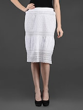 White Schiffili & Lace Cotton Skirt - Feyona
