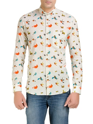 beige cotton printed casual shirt