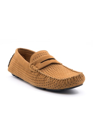 brown faux leather loafers