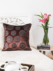 Brown  Floral Printed Cushion Cover - By