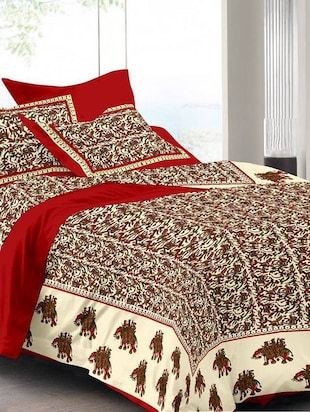 Traditional Jaipuri & Sanganeri Printed Cotton Double Bedsheet With 2 Pillow Cover