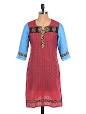 Block Printed Quarter Sleeve Long Kurta - Mytri