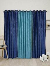 Blue Dotted Polyester Set Of 3 Curtain - By
