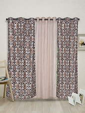 Multicolor Polyester Set Of 3 Eyelet Curtains - By