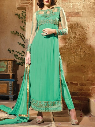 green georgette semistitched suit