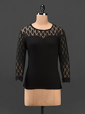 Lace Sleeves Black Full Sleeve Top - Butterfly Wears