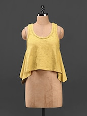Cotton Round Neck Yellow Flared Top - Butterfly Wears